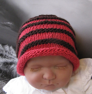 bbab370e9a9 Ravelry  Baby Simple Stripe Roll Brim Beanie Hat pattern by ...