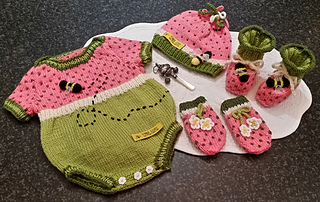 23704ec6e Ravelry: Watermelon Baby Romper Onesie Set pattern by Marcelline ...