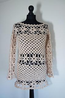 0fba0c92f Ravelry  flowers pullover sweater tunic pattern by marifu6a