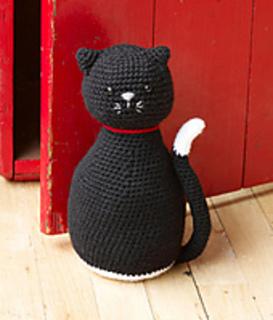 & Ravelry: Amigurumi Black Cat Door Stopper pattern by Lion Brand Yarn