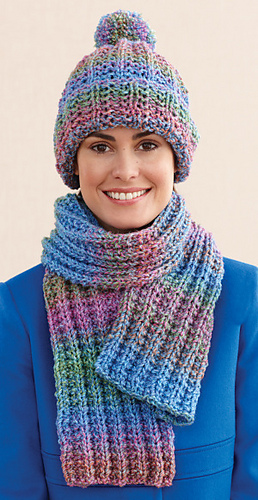 Ravelry Rustic Ribbed Hat And Scarf Scarf Pattern By Lion Brand Yarn