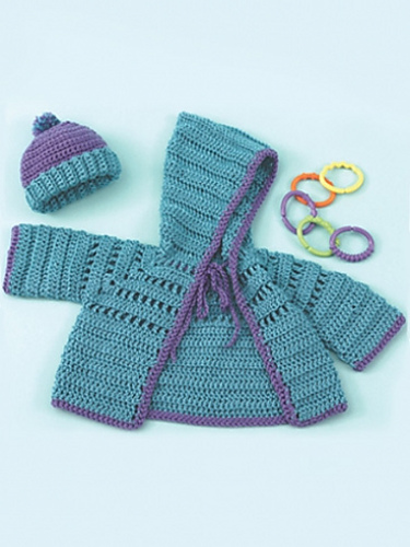 Craft Passions: Baby Hoodie & Hat..# free #knitting pattern link here