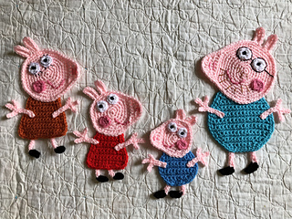 Ravelry peppa pig applique pack pattern by it s so crochet