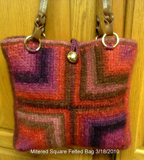 Ravelry Felted Crochet Mitered Square Tote Bag Pattern By Merri Purdy