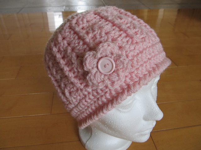 Ravelry Bonnet Rose Pale Avec Fleur Et Bouton Crochet Pattern By