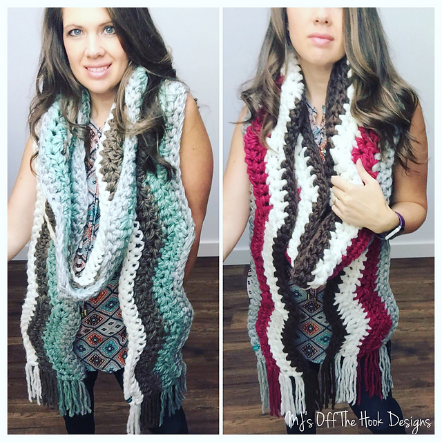 Ravelry Bulky Wavy Fringed Scarf Pattern By Mjs Off The Hook Designs