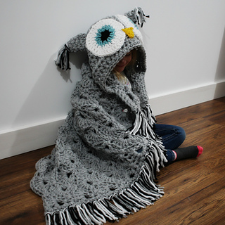 Ravelry Bulky Quick Hooded Owl Blanket Pattern By Mj S Off The
