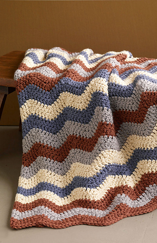 Ravelry Shaded Ripple Smoky Mountain Afghan Pattern By Lion Brand