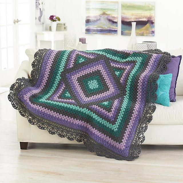 Herrschners Spring Fusion Throw Crochet Afghan Kit