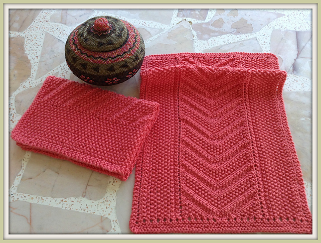 Ravelry Eyelet Seed Chevron Reversible Knit Towel Pattern By