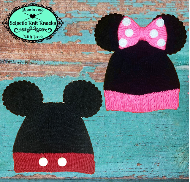 Ravelry Mickeyminnie Mouse Knitted Hat Pattern By Eclectic Knit Knacks