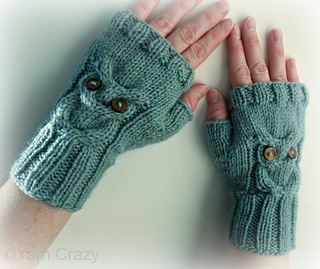 Knitting Pattern For Fingerless Gloves Using Circular Needles : Ravelry: Owl Cable Knit Fingerless Mittens pattern by Crystal Lybrink
