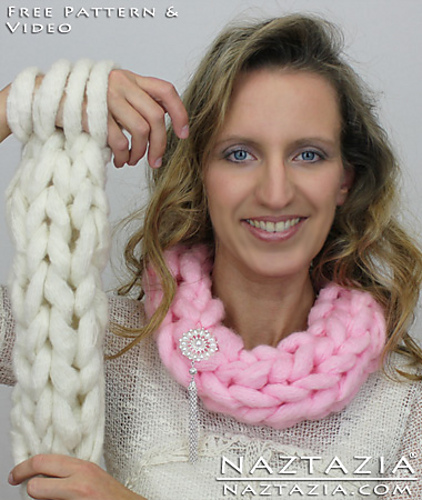 Ravelry Easy Arm Knit Cowl Or Arm Knitting Infinity Scarf Pattern