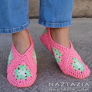 a3f1fe7093b Ravelry  Granny Square Slippers pattern by Naztazia