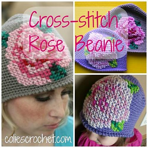 Ravelry Cross Stitch Rose Beanie Pattern By Nicole Bencker