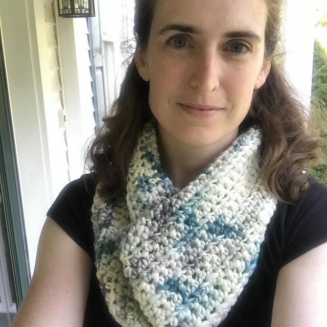 Nutmegknitter's One Good Turn crochet cowl in Serpentina