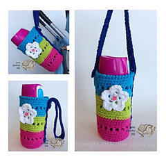 Ravelry flower water bottle holder pattern by paisley dt1010fo