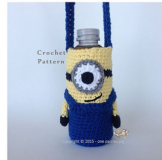 Ravelry minion water bottle holder pattern by paisley one paisley pig dt1010fo