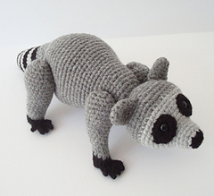Raccoon Crochet Pattern with Movable Head and Legs by oohlookitsarabbit  pattern by Susan Burkhart