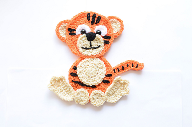 Ravelry tiger animal applique pattern by passionatecraft