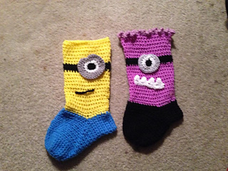 ravelry minion christmas sockstocking pattern by loopsan - Minion Christmas Stocking