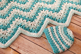 Ravelry Gentle Ripple Baby Blanket And Hat Pattern By Kara Gunza