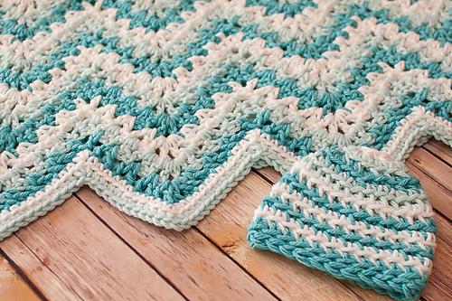 Ravelry Gentle Ripple Baby Blanket And Hat Pattern By Kara Gunza