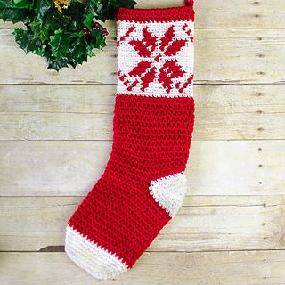 ravelry fair isle snowflake christmas stocking pattern by kara gunza