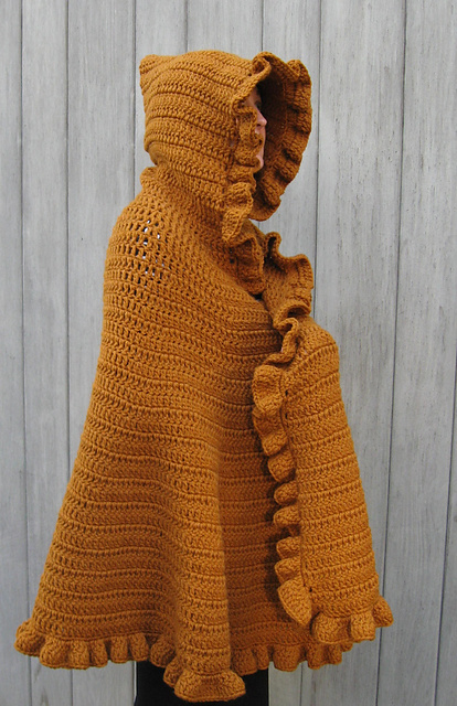 Ravelry Ruffled Shawlcape Pattern By Linda Kaye Smith
