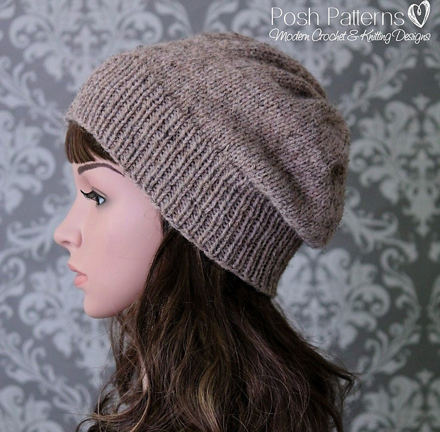Ravelry Easy Knit Slouchy Hat 433 Pattern By Posh Patterns