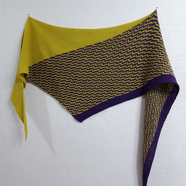 unbalanced triangular shawl in purple and mustard.