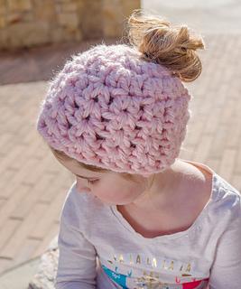 Ravelry Child S Messy Bun Hat Pattern By Katy Petersen