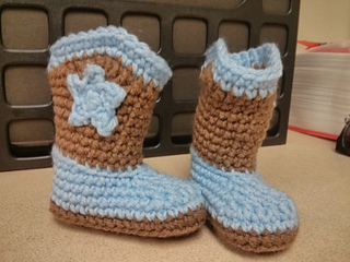 Free Crochet Patterns Baby Christening Gowns : Ravelry: Baby Cowboy Booties pattern by Michael Sellick