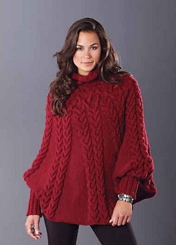 Ravelry Cabled Poncho 99203 Pattern By Mary Maxim