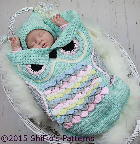 Ravelry: 245- Owl Cocoon Set pattern by ShiFio\'s Patterns