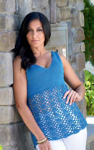 Knit_and_crochet_v-neck_top_-_eeckman_medium