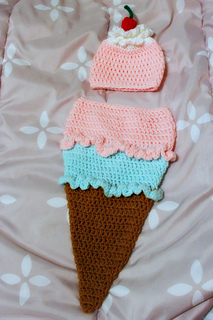 fb70432a2 Ice Cream Cone cocoon and hat pattern by Cunningham Crochet