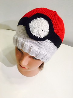10ce430a6 Ravelry: Pokemon Poke Ball Knit Hat pattern by Vicki Mann