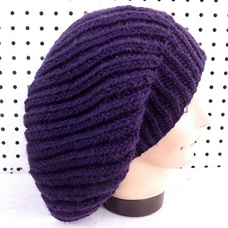 Ravelry: MARY Slouchy Knit Ribbed Beanie Hat pattern by ...