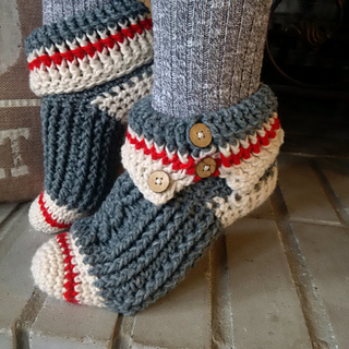 Knitting Pattern For Sock Monkey Booties : Ravelry: Sock Monkey Slippers pattern by Andrea Campbell