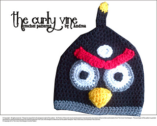 Ravelry  Black Angry Bird Hat pattern by Andrea Campbell c96121ddb8f9