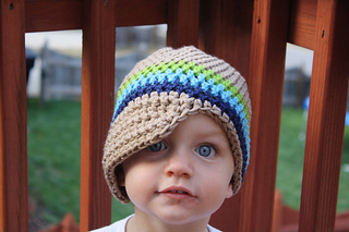 9e895dfe0d0ee Ravelry  Newsboy Hat with 3 color band pattern by Jessica Zoz