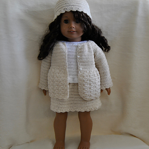 Top Skirt Cardigan And Hat To American Girl Doll Pattern By Susanne Fgelberg