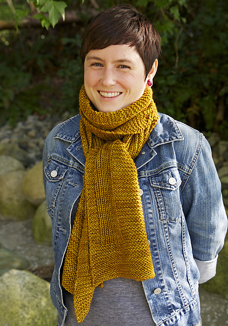 Easy knit purl scarf by Tin Can Knits - Wheat
