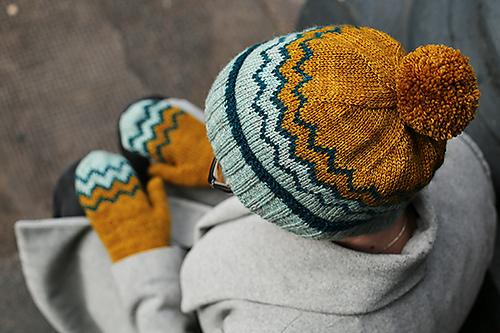patron de tuque et mitaines tricotées Ridgeline par tincanknits
