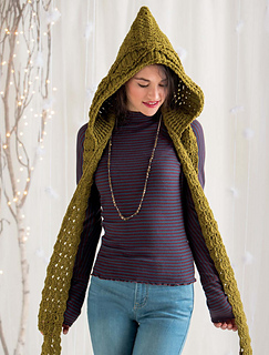 Ravelry Green Mountain Spinnery Hooded Scarf Pattern By Marly Bird