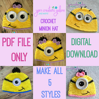 Ravelry  Crochet Minion Hat Pattern pattern by Jaley Davis a635e1fbab2