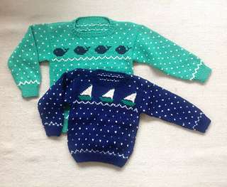 42988593f992 Ravelry   5 Child s Sailboat   Whale Sweaters pattern by Melinda Goodfellow