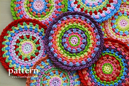 Ravelry Colorful Crochet Mosaic Coasters Pattern By Zoom Yummy